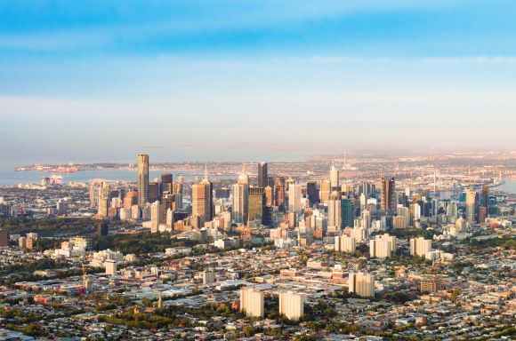 Aerial view of Melbourne CBD
