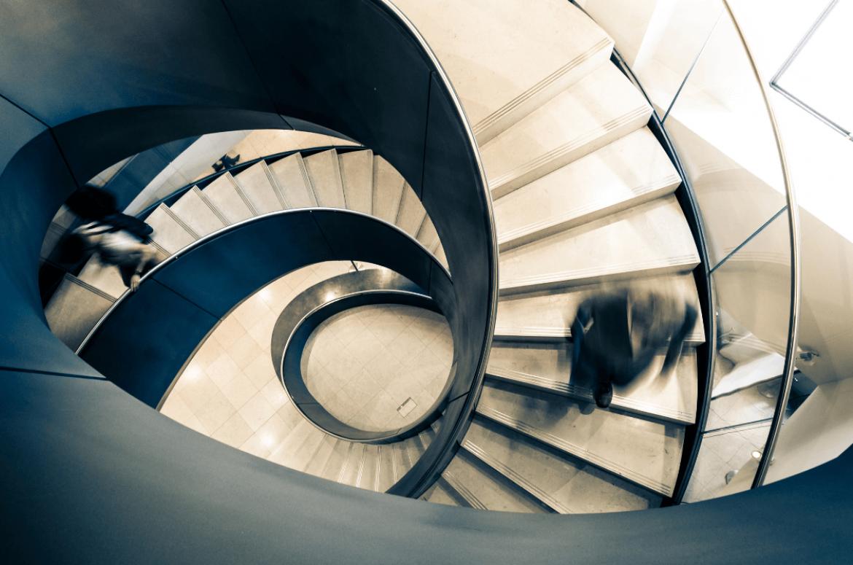 Businessman walking down stairs