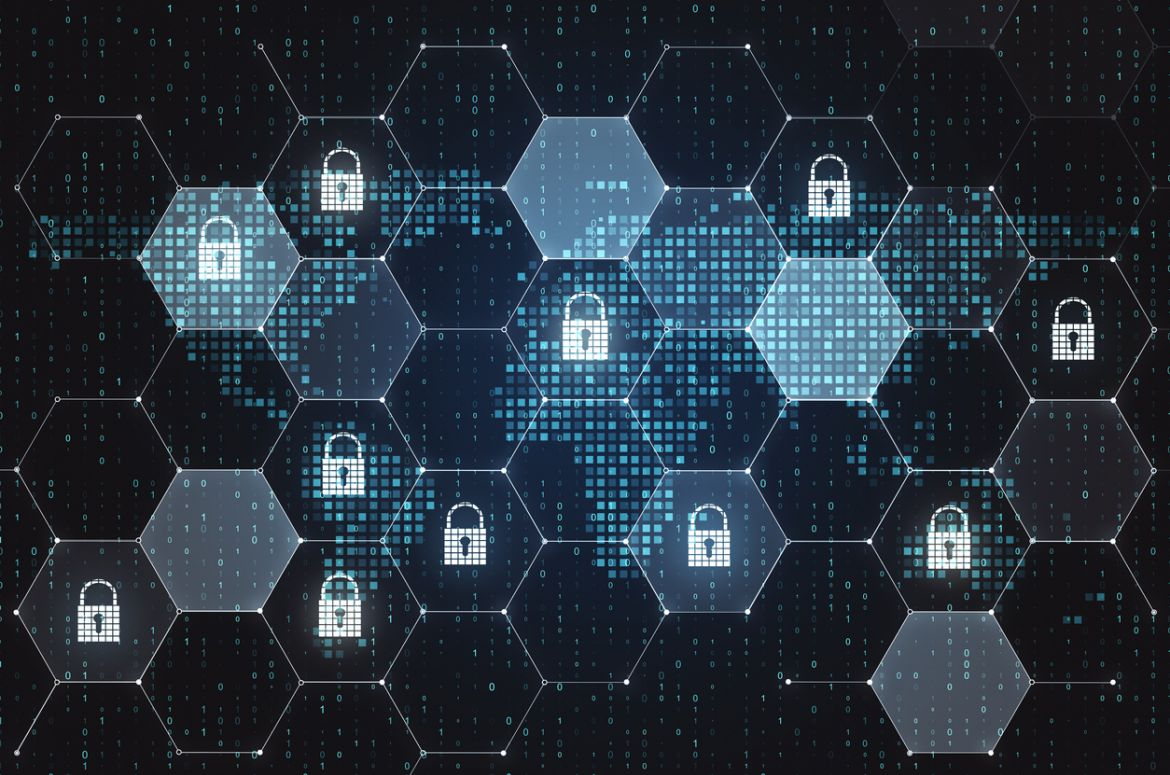 Cybersecurity abstract locks