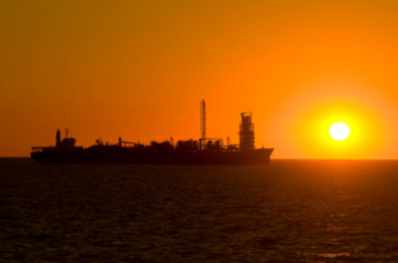 FPSO at sunset on ocean