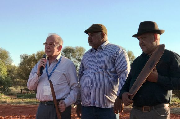 Mark speaking at Uluru
