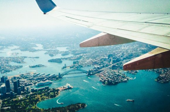 Sydney Harbour aerial picture with plane