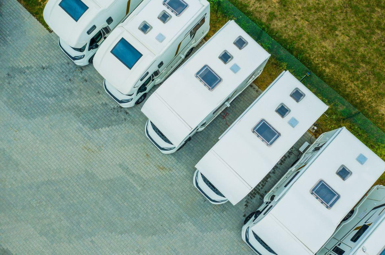 caravans aerial shot