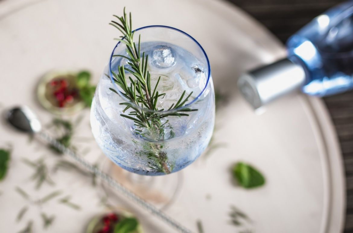 gin soda with a rosemary picture id648359606