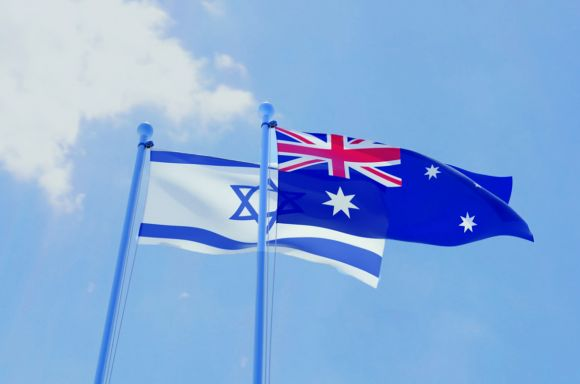 israel and australia two flags waving against blue sky picture id1131812096