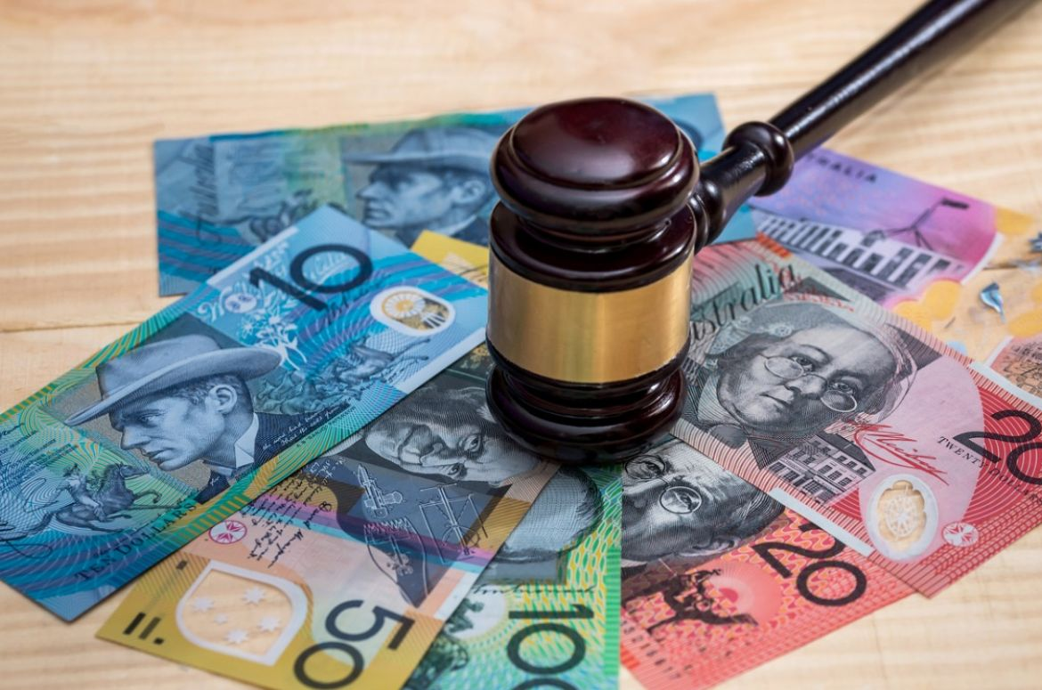 judges gavel on australian dollar banknotes closeup picture id1002852952