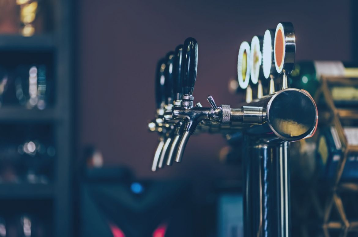 modern many beer taps in the beer bar picture id1065795062