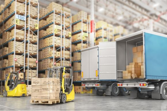 transport for delivery on a warehouse background 3d illustration picture id1002113164 1
